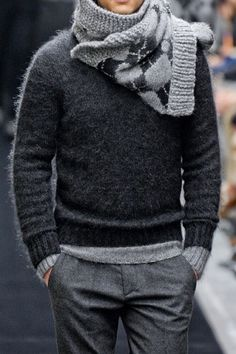 Dark grey and light grey layered jumper. Absolutely adore a guy in a grey, especially suits, light grey to be exact. Push my button with dove grey.