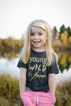 Young Wild and Free Shirt black and gold by CrownsAndCoroknits