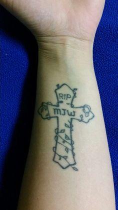 Cross r.I.p tattoo