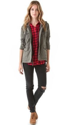 mixed prints. Love love buffalo plaid. Been looking for an Army jacket for a while now.