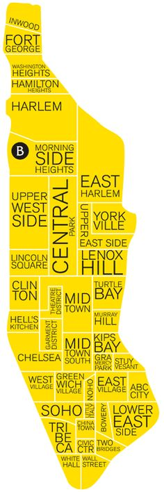 A neighborhood map of NYC. Midtown East features the Elysee Hotel, Midtown hosts the Library Hotel,  Kips Bay has Hotel Giraffe and the Theater District is home to the Casablanca Hotel.