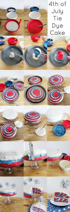 How To Make A 4th Of July Tie Dyed Cake Pictures, Photos, and Images for Facebook, Tumblr, Pinterest, and Twitter