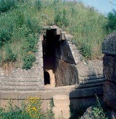 *ITALY ~ Etruscan tumulus tomb, Banditaccia Necropolis (Unesco World Heritage List, 2004), Cerveteri, Lazio, Italy. Etruscan civilisation.