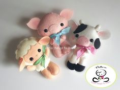 Farm Babies-Set of Three Farm Animals-PDF files-sewing pattern-Sheep, Cow, Pig-Farm Animals ornaments-Nursery decor-Baby's mobile toy by LittleThingsToShare on Etsy https://www.etsy.com/uk/listing/281192976/farm-babies-set-of-three-farm-animals
