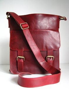 leather cross body messenger bag, vintage red by the leather store | notonthehighstreet.com