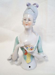 "Antique RARE German LARGE 6 1/8"" Pin Cushion Half Doll - PERFECT"