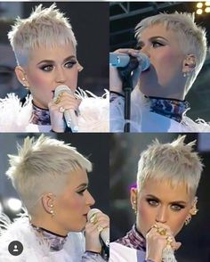 New hair short pixie cuts katie perry Ideas Short Grey Hair, Very Short Hair, Short Blonde, Short Hair Cuts For Women, Short Spiky Hairstyles, Short Pixie Haircuts, Hair Trends, New Hair, Curly Hair Styles