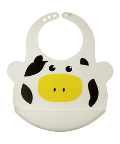 Love this Bamboo Studio White Bruno the Cow Adjustable Bib by Bamboo Studio on #zulily! #zulilyfinds