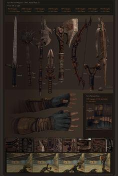 Jonathan Fletcher - 3D Artist Fantasy Armor, Fantasy Weapons, Medieval Fantasy, Weapon Concept Art, Game Concept Art, Prop Design, Game Design, Savage Worlds, Landscape Structure