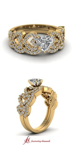 Linked Heart Set || Heart Shaped Diamond Wedding Sets With White Diamond In 14k Yellow Gold