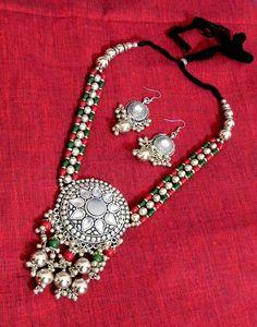 Oxidized Metal Navratri Jewellery Set- Red&Green Beads 1
