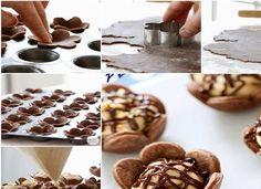 Cocoa flowers stuffed with peanut cream recipe