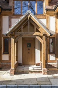 Gorgeous oak timber porch on this traditional style self build home.