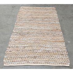 Vloerkleed leer met jute wit/ zilver/ goud 200cm x 300cm.