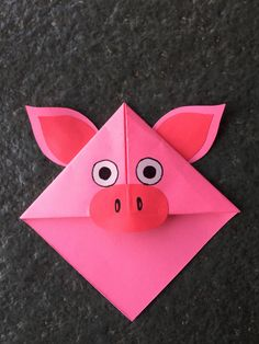 Cute animal corner bookmark fun activity for kids, cute gift idea _ Pig