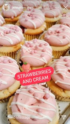 Strawberries And Cream, Strawberry, Cupcakes, Sweets, Desserts, Food, Tailgate Desserts, Cupcake Cakes, Deserts