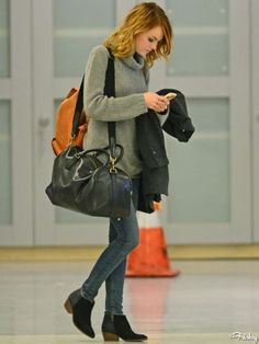 Emma Stone Street Style the boots omg great just so laid back and casual love it