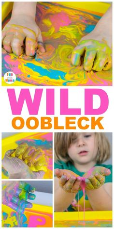 This Non Newtonian Fluid Oobleck Recipe is so much fun for little hands! It's a great preschool activity for messy play and fine motor development. Plus, it's really simple to do! Zoo Activities, Sensory Activities Toddlers, Creative Activities For Kids, Indoor Activities For Kids, Infant Activities, Summer Activities, Nanny Activities, Indoor Games, Creative Kids