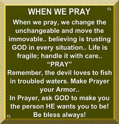 "When we pray, we change the unchangeable and move the immovable...believing is trusting GOD in every situation.   Life is fragile; handle it with care... ""PRAY""  Remember, the devil loves to fish in troubled waters.  Make Prayer your Armor...In Prayer, ask GOD to make you the person HE wants you to be!  Be blessed always!"