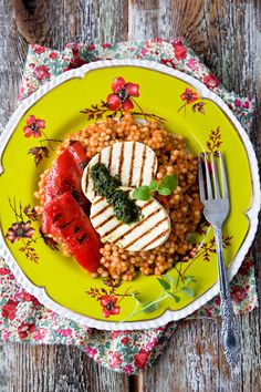 Pearl Couscous with Grilled Tofu and Red Peppers