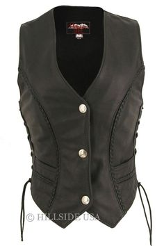 Ladies Made in USA Naked Leather Motorcycle Vest with Braid Trim. Love this look