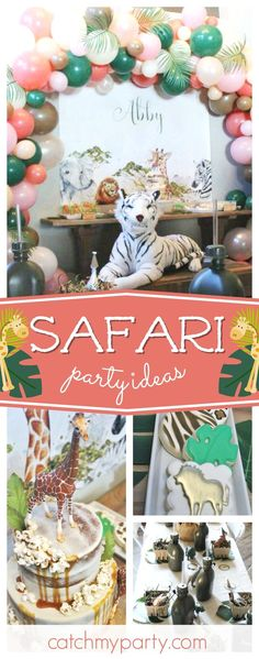 Take a look at this little girls gorgeous Safari birthday party. The balloon garland framing the dessert table!! See more party ideas and share yours at CatchMyParty.com #catchmyparty #partyideas #safaribirthdayparty #girlbirthdayparty