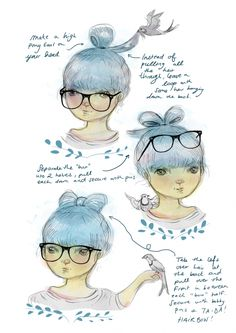 illustration version of Marie Marie Marie's hair bow instructions :) Hipster Hairstyles, Pretty Hairstyles, Cute Hairstyles, Hair Dos, Your Hair, Hair Bow Tutorial, Diy Hair Bows, Cute Illustration, Cartoon Drawings