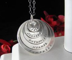 MEGA Sterling Silver Hand Stamped MOM MOMMY Necklace 5 Layer Domed Personalized Pendant Love Grandmother Family Circle Kids Names on Etsy, $87.00