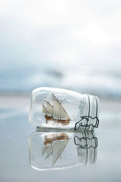 have the boat sailing out of the jar?
