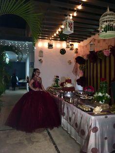 Los xv de Aranza en rojo vino  Jardín de eventos Sak naj Wedding Decoration, Lights, Red