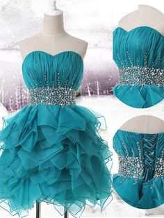 Beaded Prom Dress, Sweetheart Prom Dresses, Aline Homecoming Dress, Blue Homecoming Dresses, Organza Cocktail Dress