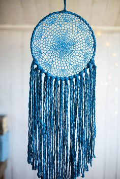 Your place to buy and sell all things handmade Blue Dream Catcher, Lace Dream Catchers, Native American Decor, Crochet Wall Hangings, Coffee Shop Design, Thread Art, Crochet Mandala, Country Crafts, Tracking Number