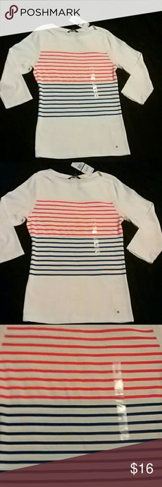 Nwt Tommy Hilfiger Top This is very nice Tommy Hilfiger top. In excellent condition. Brand new with tags. Size large pit to pit 18 inches. It's 26 inches long.  Any questions please feel free to ask. Offers welcome Happy Poshing! Tommy Hilfiger Tops Blouses