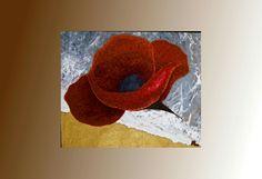 Tableau peinture fleur mer xxl rouge cuivre pauart