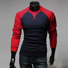 NEW Mens Fashion Casual Slim Fit Crew-neck Long Sleeve Tops Tee T-shirt 5 Color