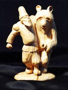 резьба по дереву - мужик и медведь.jpg (448×591)