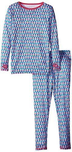 Cuddl Duds Big Girls' Essential Polyester 2 Piece Long Underwear ...