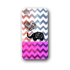 elephant love pink with chevron - iPhone 4,4S,5,5S,5C, Case - Samsung Galaxy S3,S4,NOTE,Mini, Cover, Accessories,Gift