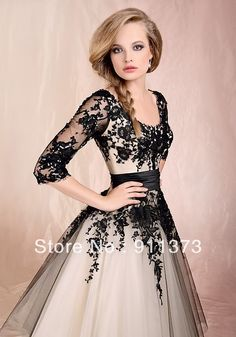 Nuevo 2013 de la boda vestidos de fiesta por la noche vestidos de novia blanco/negro de encaje personalizado