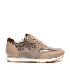 Beige sneakers met bronzen details | Dames  - Manfield.com €60