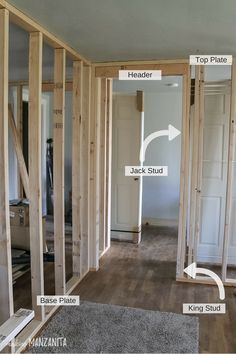 How To Build A Wall: Part 2 (Framing A Door Basement framing basement walls Basement Renovations, Home Remodeling, Basement Plans, Basement Ideas, Framing Basement Walls, Woodworking Projects That Sell, Woodworking Jobs, Framing Construction, Building A Door