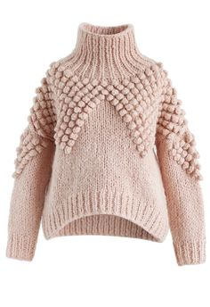 - Hand-knit - Turtleneck design - Pom-Pom knit - Hi-lo hemline - Knit fabric provides flexibility - Not lined - 100% Acrylic - Hand wash/Dry clean Size(cm)Length Bust Shoulder Sleeves XS/S 52-58 120 40 55 M/L 53-59 124 42 56 XL 54-60 128 44 57 Size(inch)Length Bust Shoulder Sleeves XS/S 20.5-23 47 15.5 21.5 M/L 21-23...