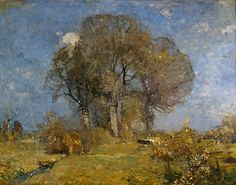 Fritz Baer (German, 1850-1919). Landscape with Cattle, ca. 1905. Oil on canvas, 375/8 x 473/4 in. Charles and Emma Frye Collection, 1952.002