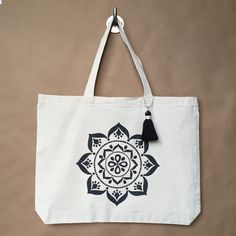 Mandala Tote Bag  Yoga Tote Bag  Black Mandala  Gift For