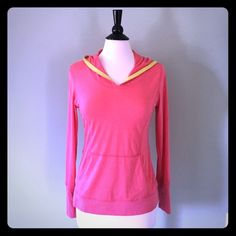 "Marika Pink Pullover Hoodie Size Small Pretty pink Marika pullover yoga hoodie with yellow hood accent. ✨ Size small. Front pocket and thumb holes. Super soft and comfy! Only worn once, in new condition! Laying flat: Shoulders 16""  Chest 18""  Length 25"". I  reasonable offers  Marika Tops Sweatshirts & Hoodies"