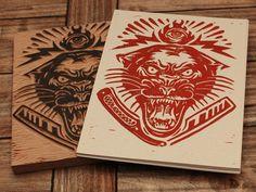 Best Radness Electric Panther Block Print images on Designspiration Tiger Design, Branding, Wood Engraving, Woodblock Print, Graphic Design Inspiration, Letterpress, Printmaking, Print Design, 2d Design