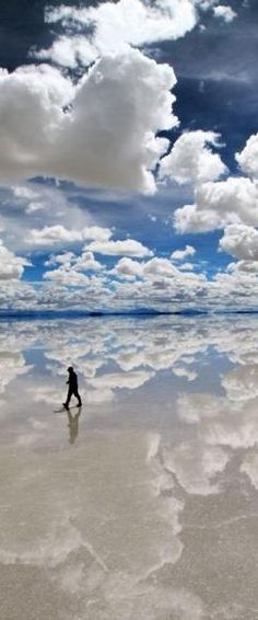 Salar de Uyuni Salt Flat, Bolivia ~ Man Walking on the Clouds