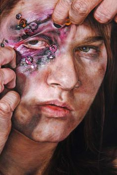 These Disturbing Female Portraits Juxtapose Violence with Glamor