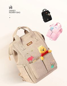 Winnie The Pooh Diaper Bag Backpack Disney Characters Minnie and Mickey Baby Bag - Orbisify Toddler Backpack, Diaper Bag Backpack, Custom Diaper Bags, Best Diaper Bag, Baby Girl Diaper Bags, Diaper Babies, Baby Bags, Stroller Bag, Bottle Bag