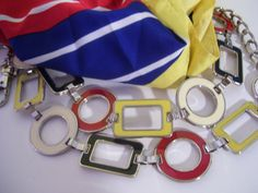 Scarf Belt Nautical Set Enamel Silver Chain Belt by cachecastle, $38.00
